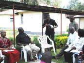 The Chaplain to the Kenya Defence Forces, Rt Revd Bishop Alfred Rotich, and Pastor James Wuye interact in group discussion