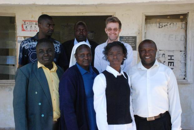 At the District Office in Burnt Forest with: Jacintha Ogada (District Officer), Sister Macrina Cheruto (IOM), Fred Killy (Location Chief), Dr Alan Channer (Director of 'An African Answer') and Joseph Karanja (IofC)