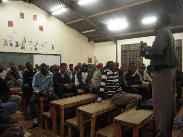 An African Answer being screened in a classroom in Egerton University