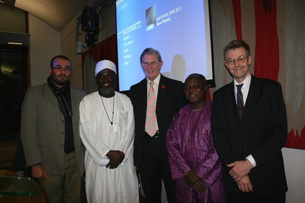 Bill Cash, MP, with Imam Muhammed Ashafa and Pastor James Wuye and the film's producer, Dr Imad Karam (left) and director, Dr Alan Channer (right)