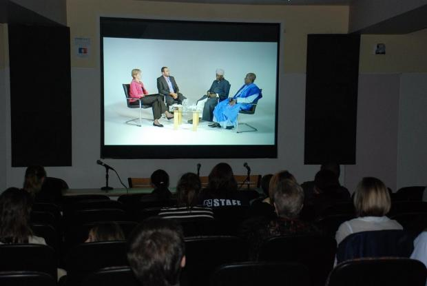 The first screening of 'Inside the Process' - a studio interview that explores the peace-building methodology of Imam Ashafa and Pastor James conducted by Professor Margaret Smith of American University and Dr Imad Karam, film-maker and academic from Palestine