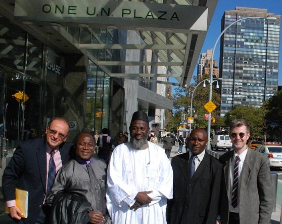 The launch team for 'An African Answer' outside the United Nations.