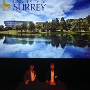 Sir Mike Aaronson (left) moderates Questions and Answers with Dr Alan Channer (right) after the film screenings.