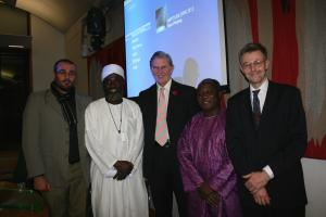 Bill Cash, MP, with Imam Muhammad Ashafa and Pastor James Wuye and the film's producer, Dr Imad Karam (left) and director, Dr Alan Channer (right) (Photo: Louise Jefferson)