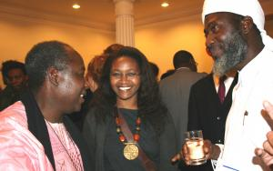 Pastor James Wuye, left, and Imam Muhammad Ashafa, right, with Wanjiku Kibunja from Kenya (Photo: Louise Jefferson)