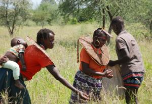 Pokot women harvesting grass seed (Photo: Alan Channer)