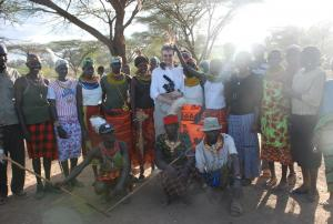A Turkana community welcomes Alan Channer, director of An African Answer (Photo: Paul Marutit)