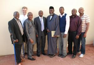 Pastor James Wuye, Imam Muhammad Ashafa and the USIP project team with Deputy Governor of Baringo Mathew Tuitoek (centre) and Chair of Together Development Programme Kenya Paul Keitany (far left) (Photo: Alan Channer)
