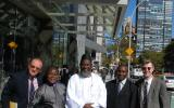 The launch team for 'An African Answer' outside the United Nations. Charles Aquilina (IofC programme co-ordinator), Pastor James Wuye, Imam Muhammad Ashafa, Joseph Karanja (film production consultant) and Dr Alan Channer (film director)
